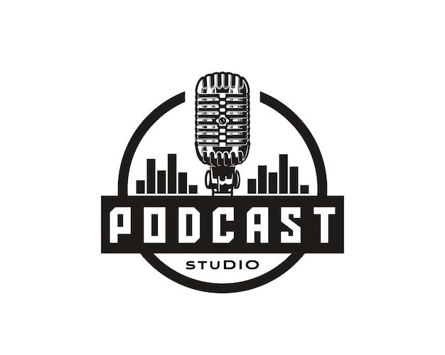 Voz musical podcast falando estúdio show desempenho círculo podcast logotipo ícone símbolo design