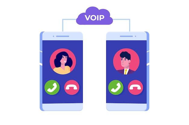 Voz sobre ip, conceito de tecnologia voip de telefonia ip.