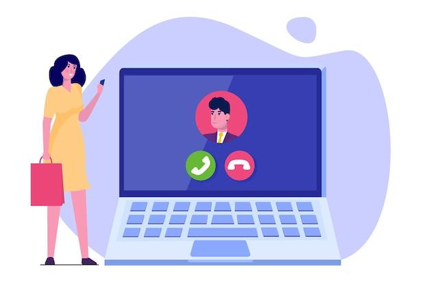 Voz sobre ip, conceito de tecnologia voip de telefonia ip. Vetor Premium