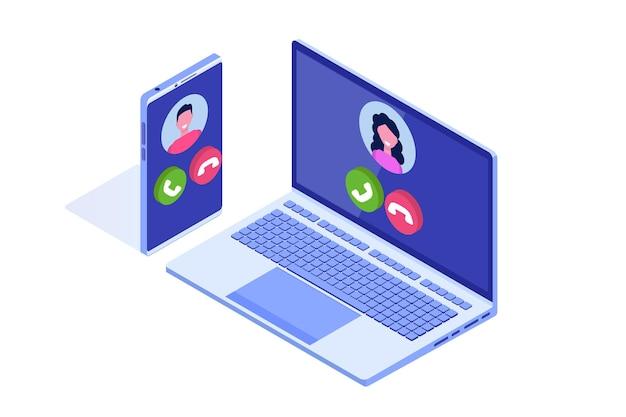 Voz sobre ip, telefonia ip conceito isométrico da tecnologia voip.