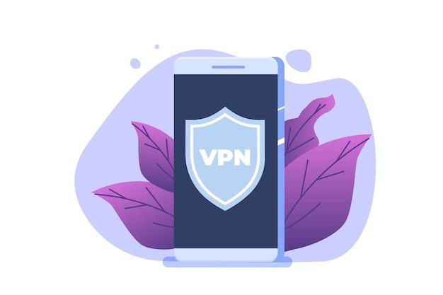 Vpn, conceito de serviço móvel de rede privada virtual. proteja os dados pessoais no smartphone. ilustração vetorial