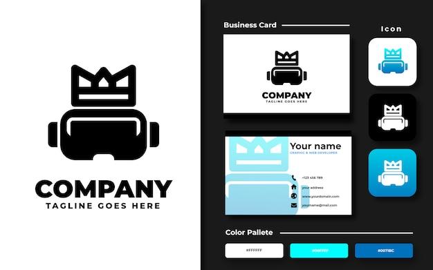 Vr com modelo de logotipo da coroa e cartão de visita