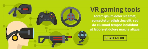 Vr gaming tools banner modelo conceito horizontal