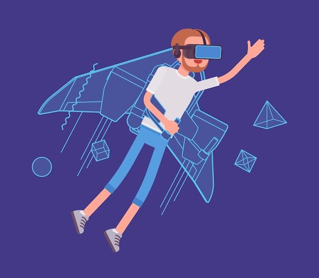 Vr homem jetpack voando