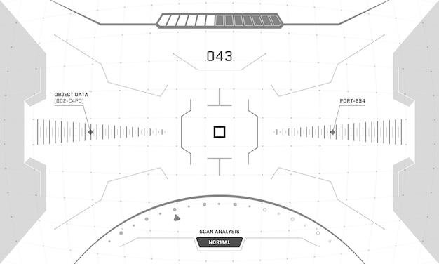 Vr hud interface do jogo crosshair screen scifi futurista visualização de realidade virtual head up display visor