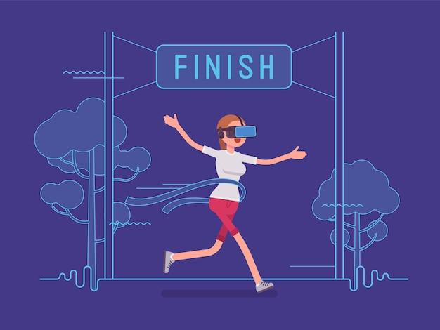 Vr mulher correndo e ganhando