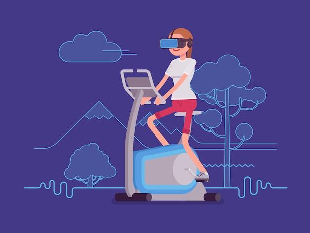 Vr mulher correndo na bicicleta ergométrica