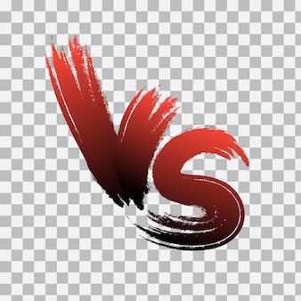 Vs. contra o logotipo da carta em fundo transparente. vs letras de gradiente vermelho. ilustração vetorial.