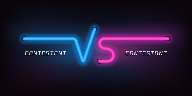 Vs ícones do vetor, logotipo. estilo de luzes de néon para sinal versus em fundo abstrato