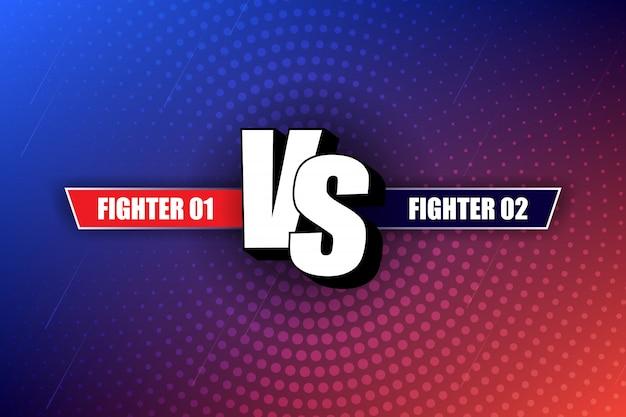 Vs versus design em quadrinhos azul e vermelho. vs cabeçalho de luta, duelo de conflito entre as equipes vermelha e azul. competição para combater os rivais.