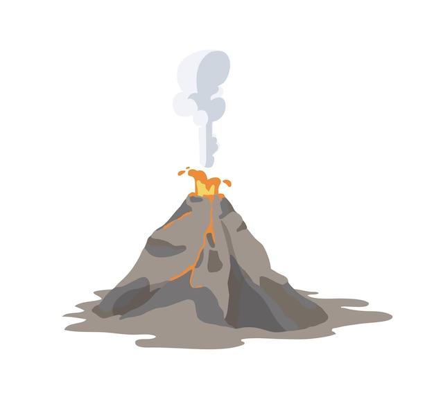 Vulcão ativo em erupção e emitindo fumaça, nuvem de cinzas e lava isolados na superfície branca