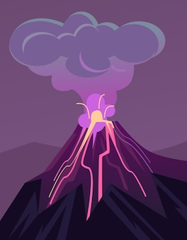Vulcão em erupção ilustração plana dos desenhos animados