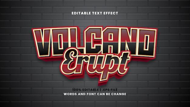 Vulcão entra em erupção efeito de texto editável em estilo 3d moderno