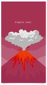 Vulcão erupção plana cor de fundo com espaço de texto