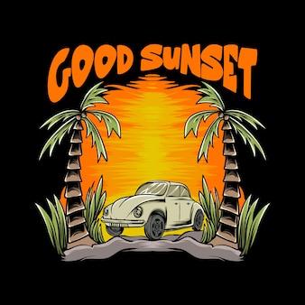 Vw battle com ilustração do pôr do sol para design e impressão de camisetas