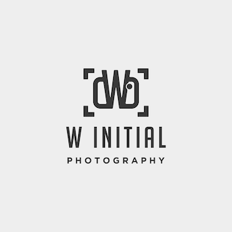 W elemento de ícone de design de vetor de modelo de logotipo de fotografia inicial