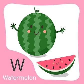 W melancia fruta fofa
