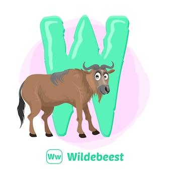 W para gnus. estilo de desenho de ilustração de animal do alfabeto para educação