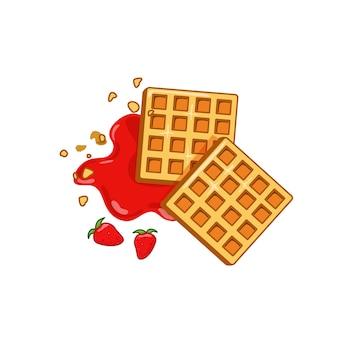 Waffle belga com geléia de morango. fundo branco isolado. ilustração do vetor eps10.