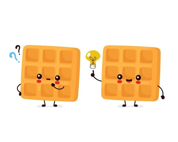 Waffle belga engraçado feliz bonito com ponto de interrogação e lâmpada de ideia. desenho animado personagem ilustração ícone do design.