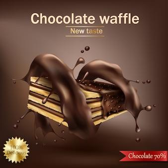 Waffle com enchimento de chocolate embrulhado em espiral de chocolate derretido