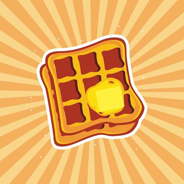 Waffle com manteiga no fundo do sol Vetor Premium