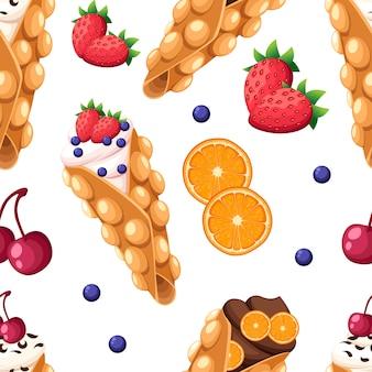 Waffle de hong kong de padrão uniforme com laranja morango e cereja e ilustração de creme chantilly ou de chocolate na página do site e no aplicativo móvel com fundo branco