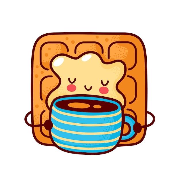 Waffle fofo e feliz bebendo café
