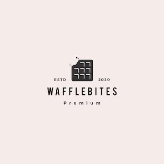 Waffle morde logotipo hipster retro vintage