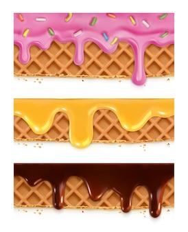 Waffles de chocolate, mel, esmalte, padrões horizontais contínuos