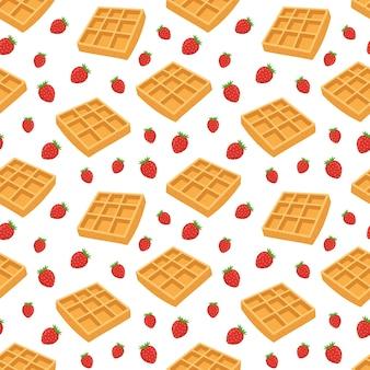Waffles e mirtilos padrão sem emenda