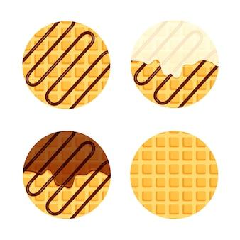 Waffles vienenses ou belgas com creme de baunilha e calda de chocolate ou cobertura conjunto de waffles redondos