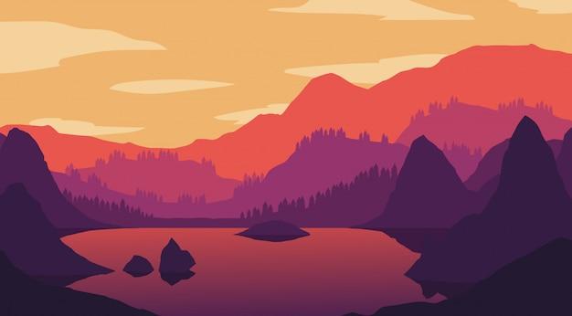 Wallpaper de paisagem em design plano
