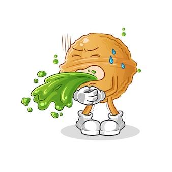 Walnut vomitar desenho animado. mascote dos desenhos animados