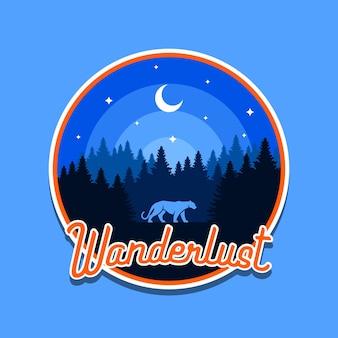 Wanderlust para crachá ao ar livre ou design de camisetas de aventura