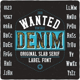 Wanted denim vintage lettering