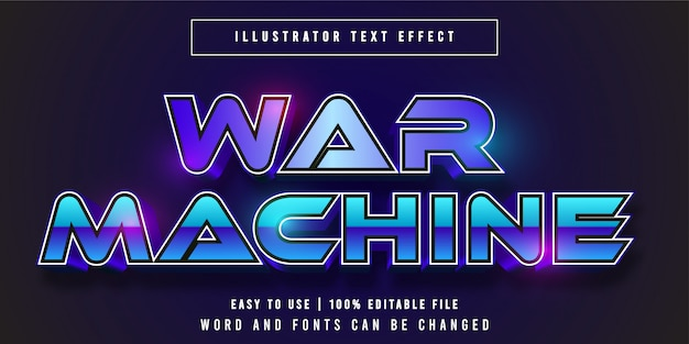 War machine, título do jogo estilo gráfico efeito de texto editável