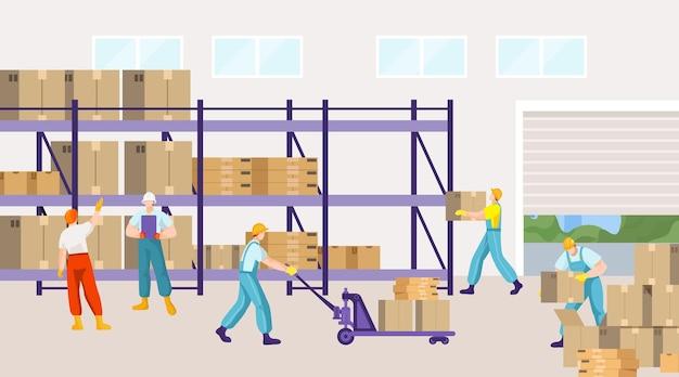 Warehouse business company people character together ilustração plana