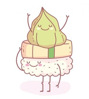 Wasabi feliz na comida dos desenhos animados de sushi fofa