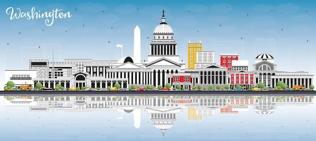 Washington dc eua city skyline com edifícios de cinza, azul céu e reflexões. ilustração vetorial. viagem de negócios e conceito de turismo com edifícios históricos. washington dc cityscape com pontos turísticos.