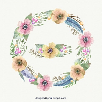 Watercolor coroa de flores em tons pastel