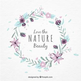 Watercolor coroa de flores