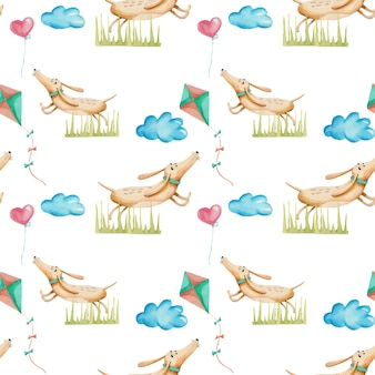 Watercolor cute cartoon dachshunds seamless pattern