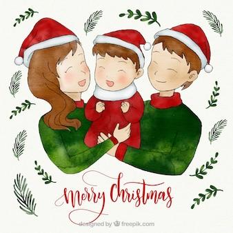 Watercolor cute family christmas scene