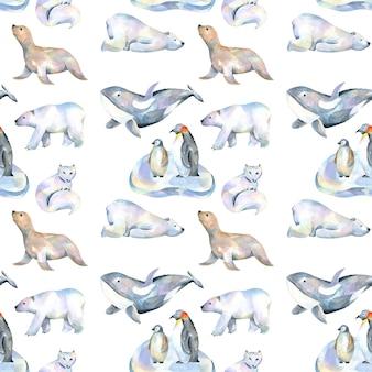 Watercolor cute polar animals ilustrações padrão sem costura