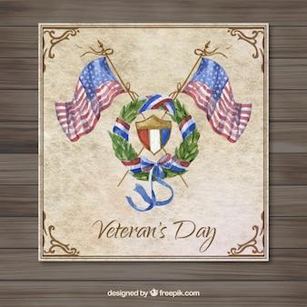 Watercolor eua cartão dia dos veteranos Vetor grátis