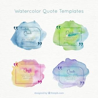 Watercolor modelos de citações pacote