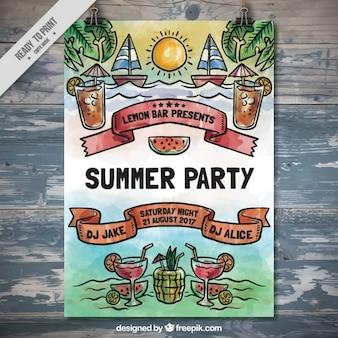 Watercolor poster festa de verão com barcos