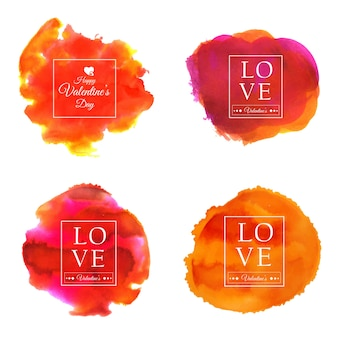 Watercolor valentine splatter sets designs