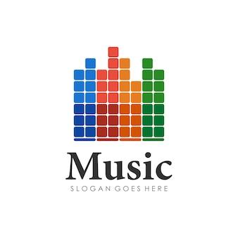 Wave music play design do logotipo